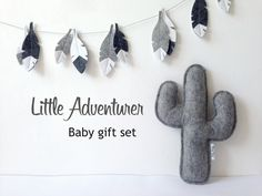 Adventure Baby Gift set: Cactus pillow and feather garland, Monochrome Baby Gift, Monochrome nursery, Baby decor, Nursery Decor, by LilyRazz on Etsy
