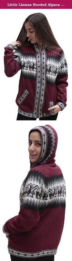 Little Llamas Hooded Alpaca Wool Knitted Jacket Hoodie Sweater (XXLarge, Burgundy). This is a brand new hooded alpaca wool jacket, handmade in Peru. It features a gorgeous andean llamas design in a beautiful color combination. Alpaca is considered one of the worlds few luxury fibers due to its unique properties of softness, luster, lightness, durability, & warmth. No other animal fiber combines ALL of these properties. Alpaca is also considered a specialty fiber as less alpaca fiber is...