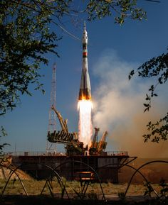 The Soyuz TMA-04M rocket launches from the Baikonur Cosmodrome in Kazakhstan, carrying Expedition 31 Soyuz Commander Gennady Padalka, NASA Flight Engineer Joseph Acaba and Flight Engineer Sergei Revin to the International Space Station. (NASA/Bill Ingalls)