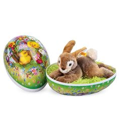 Giant Springtime Egg and Steiff™ Bunny Special— Easter Egg and Basket in One Sweet Package! (5 Star Customer Rating)