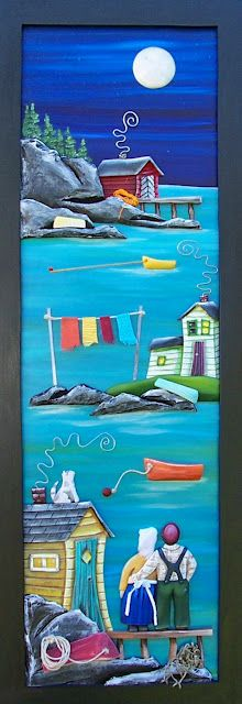 The Grumpy Goat Gallery Tole Painting, Painting On Wood, Newfoundland And Labrador, Newfoundland Canada, Watercolor Quilt, Beach Quilt, Mandala Canvas, Painted Rocks, Painted Houses