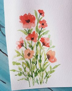 As the baby has become more clingy to me in the past two weeks i hardly found anytime for myself and decided to take a… Watercolor Poppies, Easy Watercolor, Watercolor Artists, Watercolor Cards, Red Poppies, Abstract Watercolor, Poppies Painting, Watercolor Paintings For Beginners, Watercolor Projects