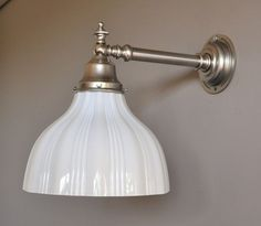 HINDMARSH-WALL-LIGHT-ANTIQUE-NICKEL-PROVINCIAL-BRACKET-OPAL-GLASS-RAILWAY-SHADE