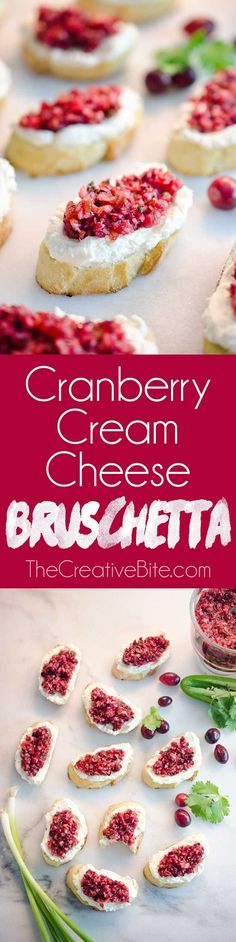 Cranberry Cream Cheese Bruschetta are a fresh and unique twist on the classic appetizer. Toasted french bread is topped with whipped cream cheese and a spicy cranberry salsa for an hors d'oeuvre perfect for any holiday party! #Appetizer #Cranberry #Crostini