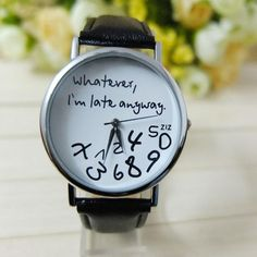 Superior Hot Selling Whatever I am Late Anyway Letter Women FauxLeather Watch  Wrist Watches New June 24