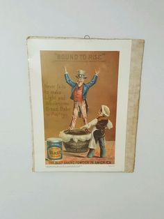 Preston & Merrills Yeast Advertising Poster 14 ins X 10 3/4 President Uncle Sam