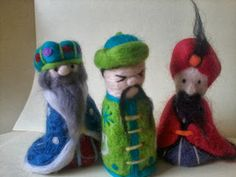 Needle felt three wise men, Christmas, needle felt ideas, nativity, handmade