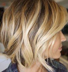 Cropped blonde Balayage hair