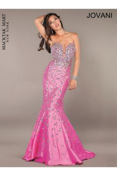 Jovani prom dress 944 mermaid style with crystals #strapless pink