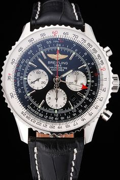 Swiss Breitling Navitimer Black Dial Stainless Stell Case Black Leather Strap