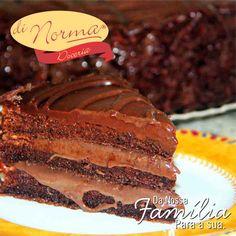 Uma ótima opção para o Dia Das Mães! Torta Suflair: Massa leve de cacau recheada e coberta com brigadeiro e confeitada  com ganache e raspas de chocolate.  #love #DiNorma #DiadasMães #curta #siga e #compartilhe