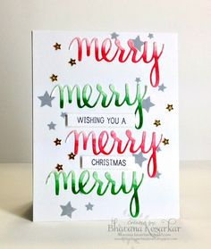 blending art and craft: For the holiday blog hop I have come up with a christmas card using the Hero Arts merry coordinating clear stamp and die.