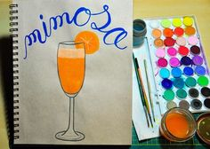 Day 29 - Mimosa! One of my first cocktails ever  mimosas and samosas  #brushlettering #mimosa #heartisancreations #letteringart #letteringdaily #handletteredart #brushlettering #brushletteringpractice #brushletteringpracticechallenge #gouachepainting #gouache #painting #gouache #gouachepaint #handdrawntype #handletteringchallenge  #cocktail #artistdesk #artdesk #artistsofinstagram #letteringco #betype #artoftype #typegang #typography #calligraphy #fauxlligraphy #instachallenge #letteringart…