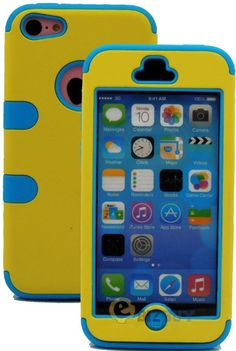 Amazon.com: myLife (TM) Sky Blue + Yellow Flat Color Style 3 Layer (Hybrid Flex Gel) Grip Case for New Apple iPhone 5C Touch Phone (External...