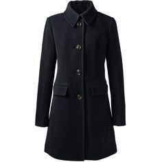 Lands' End Women's Plus Size Wool Car Coat (490 RON) ❤ liked on Polyvore featuring outerwear, coats, jackets, coats & jackets, black, shiny coat, plus size wool coats, lands' end, wool coats and women's plus size coats