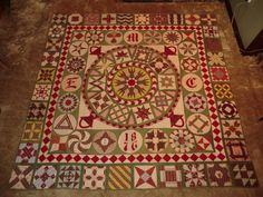 Antique 1876 Centennial Quilt - Purchased in Manchester, CT. No history known. Initials in blocks are 'E', 'M' & 'C'. Old Quilts, Antique Quilts, Vintage Quilts, Scrappy Quilts, Medallion Quilt, American Quilt, Quilt Border, Sampler Quilts, Green Quilt