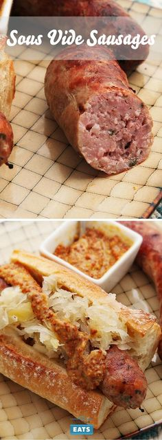 160 1 - 4 hr for us Extra-plump and juicy sausages from the sous vide cooker. Brats Recipes, Sausage Recipes, Cooking Recipes, Cooking Games, Steak Recipes, Cooking Ideas, Sous Vide Pork, Sous Vide Cooking, Joule Sous Vide