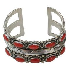 Vintage Native American Red Coral Cuff Bracelet ($499) ❤ liked on Polyvore featuring jewelry, bracelets, wrap bracelet, cuff bracelet, native american jewelry, cuff bangle and pandora jewelry