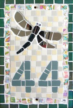 House Number by TomatoJack Arts Vintage crockery, ceramic and glass mosaic tiles and mirror