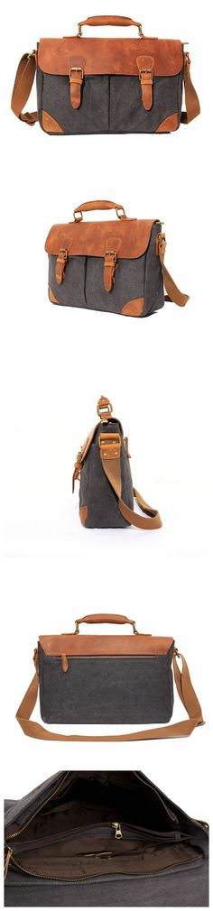 Vintage Leather Canvas Briefcase / Messenger Bag / Laptop Shoulder Bag