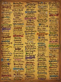 Names of God - Inspirational Scripture Painting Art Print by Annie Laurie. All prints are professionally printed, packaged, and shipped within 3 - 4 business days. Choose from multiple sizes and hundreds of frame and mat options. Scripture Painting, Scripture Art, Bible Scriptures, Bible Quotes, Forgiveness Scriptures, Bible Prayers, Catholic Prayers, Attributes Of God, Jesus Christus