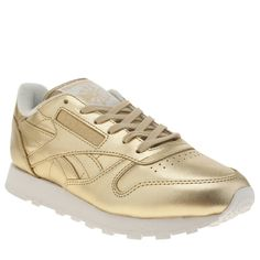 womens reebok gold classic leather spirit trainers