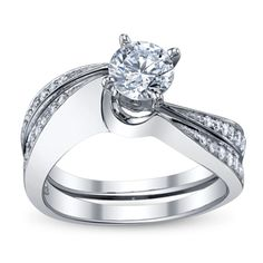 14K White Gold Diamond Wedding Set Setting