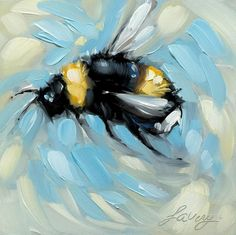 """'Beezy' with the bees lately! 4x4"""" oil on panel 