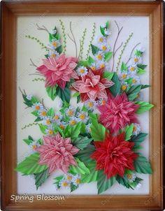 Картина, рисунок, панно Бумагопластика, Квиллинг: Георгины Бумага, Бумажные полосы. Фото 1