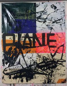 Hermann Josef Hack, PLANE, 151225, painting and spray paint on tarpaulin, 284 x 228 cm, 2015