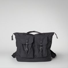 Ally Capellino | Rucksack in black waxed cotton | Ally Capellino