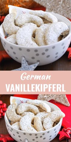 Vanillekipferl (German Vanilla Crescent Cookies) are traditional German Christmas Cookies made with ground nuts and dusted with vanilla sugar! They are tender, nutty and melt in your mouth. A perfect cookie to make ahead thats always a hit. German Christmas Cookies, German Cookies, Vegan Christmas, Christmas Baking, German Christmas Traditions, German Cake, Easy Cookie Recipes, Dessert Recipes, Deutsche Desserts