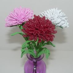 French Beaded Flowers Three Carnations in Red, White, & Pink by Craftymoose on Etsy
