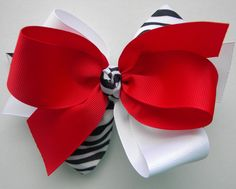 Bows Gone Wild Collection Large Popular Zebra White by bowtowne