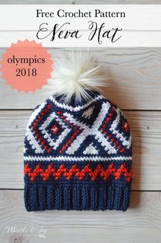 olympic team crochet hat with red white and blue color work