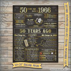 50 Years Ago 1966 Chalkboard Poster Sign Instant Download Digital Printable File, 66 USA Events Birthday Anniversary Reunion Retirement Gift