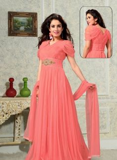 Peach long Indian fashion party wear gown in net
