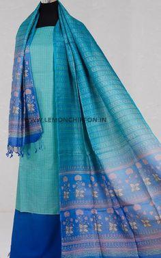 Exclusive handwoven, pure tussar silk kurta teamed with a beautiful hand block printed tussar silk dupatta and matching cotton salwar. Silk Dupatta, Chiffon Saree, Salwar Pattern, Night Suit, Dress Designs, Salwar Suits, Silk Fabric, Printing On Fabric, Designer Dresses