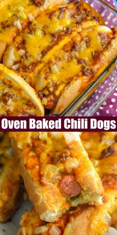 For the best chili cheese dogs around, all you need is this easy Oven Baked Hot Dogs recipe. Loaded with chili, chopped onion, and melted cheddar, they're crispy on the outside but soft and savory dogs tucked into fluffy buns. Lunch, dinner, pot lucks, even on Game Day- these are perfect for almost any occasion. #chili #cheese #hotdogs
