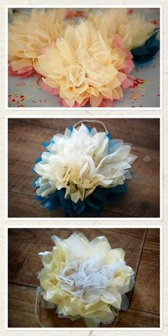 Love the tulle added to these tissue paper flowers, really kicks it up a notch... they'd actually look nice on the tables of a wedding reception in a couple of different sizes