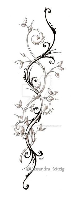 tendril tattoo, perfect spine tattoo idea maybe thinned out a bit so it fit properly and not look gooney :p Leg Tattoos, Flower Tattoos, Body Art Tattoos, Tattoo Drawings, Tribal Tattoos, Sleeve Tattoos, Tattoo Thigh, Rose Vine Tattoos, Side Leg Tattoo