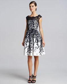 Leaf-Overlay Dress, Black/White by Blumarine at Neiman Marcus.