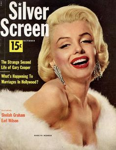 Marilyn Monroe on the cover of Silver Screen magazine, October 1953, USA. Photo…