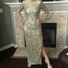 """Aidan Maddox Golden Girl Gown Give that girl a Golden Globe! This gorgeous floor-length gown is covered in gold sequins, creating a glow from every angle. Heavenly! Model is 5'9"""" & is normally a size 6. Aidan Mattox Dresses"""