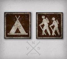 Camp & Hike canvas wall art by Ryan Fowler Art. Brown, Red, Blue, Yellow.