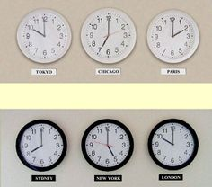 World time zone clocks – multi display for wall mounting. Great prices on multiple time zone wall clocks. Only your wall space limits how many times zone clocks you can display! Time Zone Clocks, Time Clock, Classroom Resources, Classroom Themes, Office Ideas, Office Decor, World Time Zones, Single Apartment, World Clock