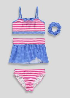 Girls Stripe & Spot 4 Piece Swim Set (3-13yrs) View 1
