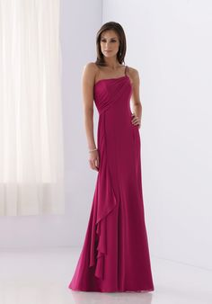 A-Line One-Shoulder Floor-length Chiffon Beading Bridesmaid #Dress Style BY21044