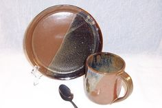 Handmade Ceramic Coffee Mug and Plate Lunch by ClaycrazyPottery,