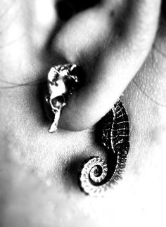 Seahorse Earrings! And this site has many other pieces of animal jewelry - cats, elephants, an octopus, and more!
